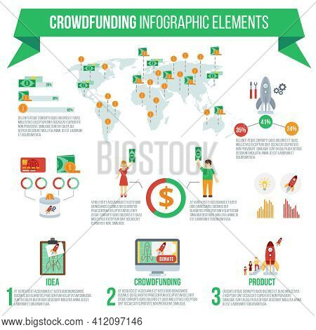 Crowdfunding Infographic Set With Startup Idea Implementation Symbols And Charts Vector Illustration