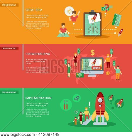 Crowdfunding Horizontal Banner Set With Great Idea Implementation Elements Isolated Vector Illustrat