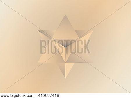 Sacred Geometry. 3d Old Merkaba Solid Geometric Triangle Shape. Esoteric Or Spiritual Symbol. Isolat