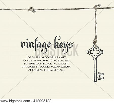 Banner With A Vintage Key, An Inscription And Place For Text On A Light Backdrop. Vector Illustratio