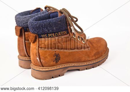 U.s. Polo Assn. Brown Hiking Shoes And A White Background, Sturdy Hiking Boots, Strong Hiking Boots