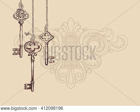 Vintage Banner Or Background With An Old Keys And Keyhole On A Light Backdrop. Vector Illustration I