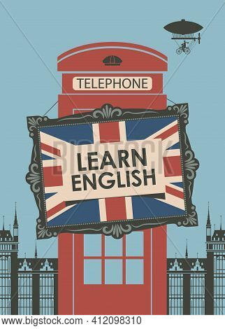 Vector Banner On The Topic Of Learning English For Language Schools Or Online Courses. Flat Style Il