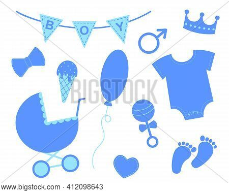 Baby Boy Shower Set. Elements For Greeting Cards And Invitations. Blue Bunting With Text Boy, Crown,