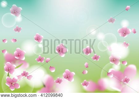 Cherry Sakura Petals Confetti. Windy Leaves Poster. Female Texture. Pink Flowers Blossoming, Spring