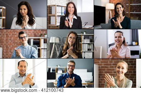 Video Conferencing Call Clapping Hands In Virtual Event