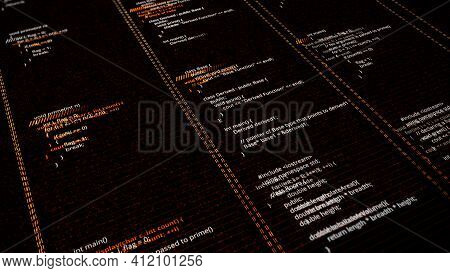 Process Of Writing Source Code. Animation. Virtual Field Of Software With Source Code. Program Code