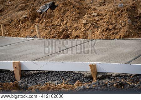 Concrete Pavement Sidewalk Hard Work Cement Industry