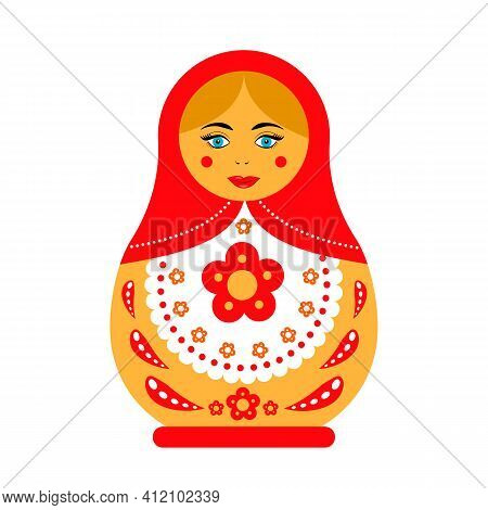 Russian Doll Matryoshka Isolated On White. Traditional Russian Souvenir. Flat Vector Icon.