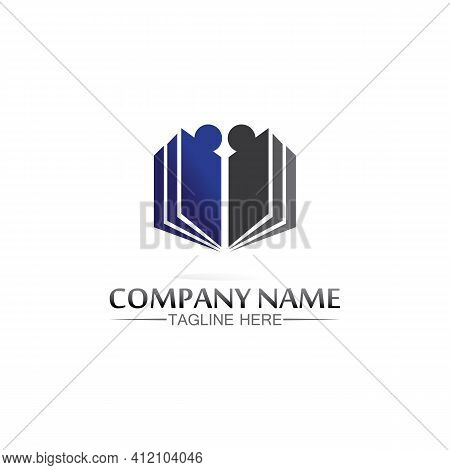 School Logo And Education, Vector, Illustration And Book Logo For Study Web, Pen, Workshop And Learn