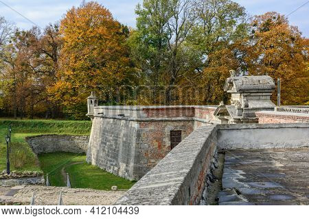 Pidhirtsi Castle, Lviv Region, Ukraine - October, 29, 2020: Fragment Of The Fortress Wall. Pidhirtsi