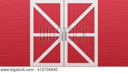 Red Wooden Barn Door Front Side Background Horizontal Vector Illustration