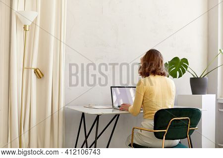 Back View Of Unrecognizable Female In Smart Casual Clothes Sitting At Desk And Browsing Data On Netb