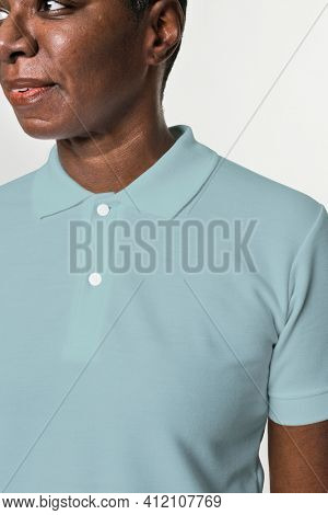 African American wearing basic blue polo shirt apparel