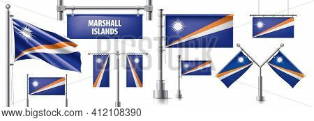 Vector Set Of The National Flag Of Marshall Islands In Various Creative Designs