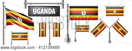 Vector Set Of The National Flag Of Uganda In Various Creative Designs