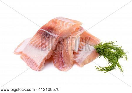 Pangasius Fish Fillet, Pieces On A Green Lettuce Leaf. Isolated On A White Background. Fresh Fish Fi