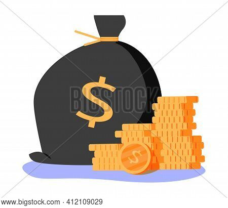 Money Bag Icon, Moneybag Flat Simple Cartoon Illustration. Vector Illustration