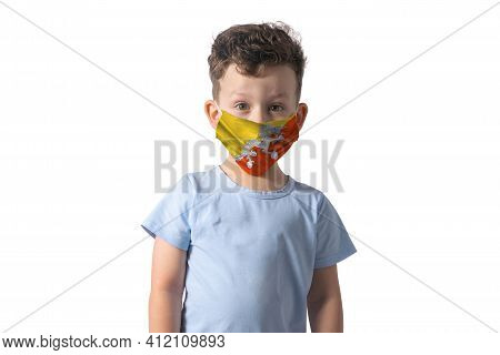 Respirator With Flag Of Butane. White Boy Puts On Medical Face Mask Isolated On White Background.