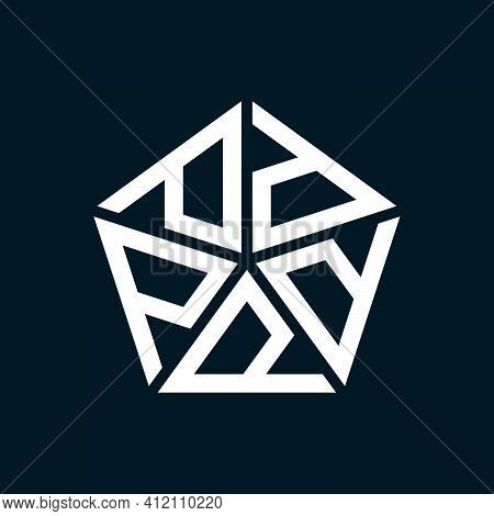 Initial Letter P Or D Logo Template With Geometric Pentagonal Structure Illustration In Flat Design