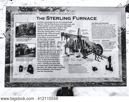 Descriptive Sign. Descriptive Sign With Information On The History Of The Sterling Furnace. B&w Filt