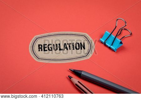 Regulation. Red Notes And Documents Folder. Office Supplies