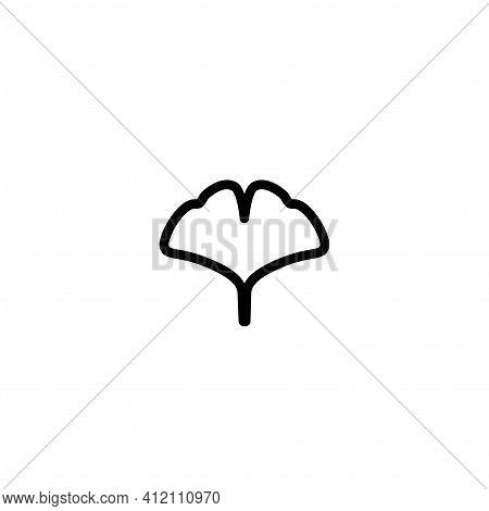 Black Line Ginkgo Biloba Leaf Icon Isolated On White. Nature Eco Logo. Vector Illustration. Leaflet