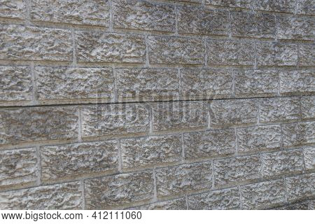 Marked Wall Of Cement Brick Panel Forming Pattern