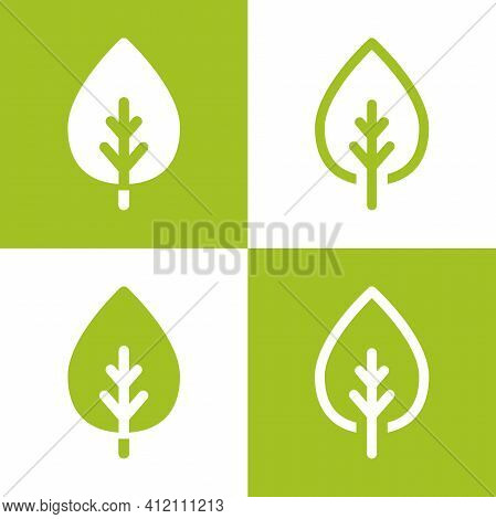 Green Leaves In Squares. Eco Label. Isolated On White. Vector Illustration. Flat Ecology Sticker Ico