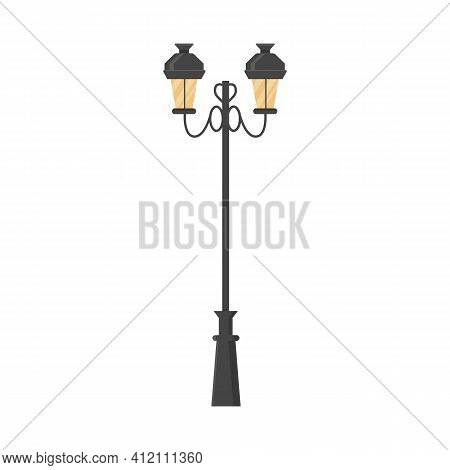 Outdoor Elegant Street Light. Vintage Retro Street Lamp. Classic Urban Streetlight. Vector Flat Styl