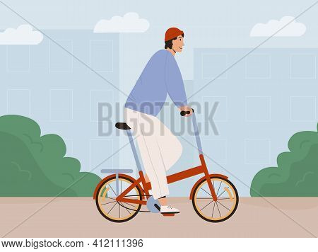Stylish Man Riding Street Folding Bicycle In City Vector Flat Illustration. Trendy Looking Male In H