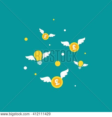 Flying Bulbs And Money With Wings . Flat Icon Isolated On Blue Background. Imagination, Fantasy Icon