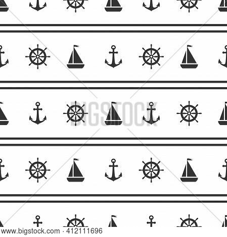 Nautical Seamless Pattern With Black Helms And Anchors On White. Ship And Boat Steering Wheel Orname