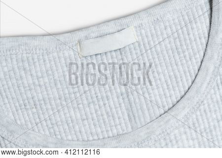 Gray tee with blank clothing label casual wear fashion