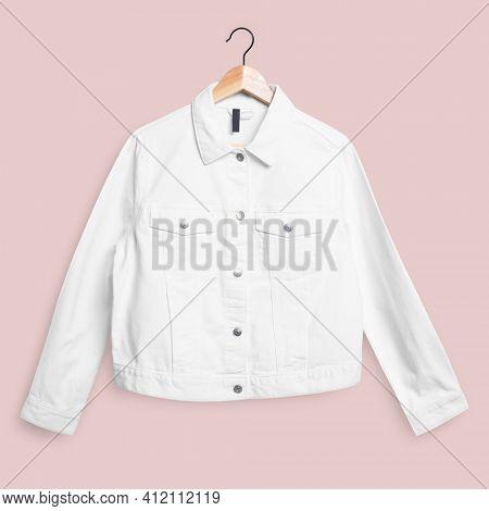 White denim jacket front view streetwear fashion