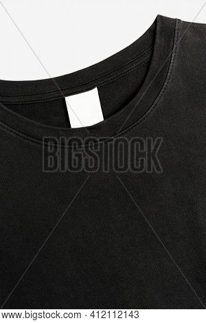 Black tee with blank clothing label casual wear fashion