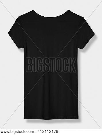 Basic black tee women's apparel rear view