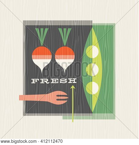 Retro Illustration Of Vegetables Including Peas And Radishes.  Healthy Eating Design For Posters, Me