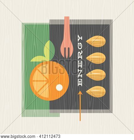 Retro Illustration Of Produce Including Oranges And Almonds.  Healthy Eating Design For Posters, Men