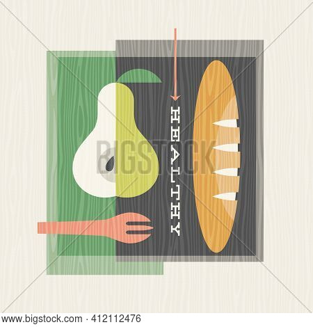 Retro Illustration Of Healthy Foods Includes Pears And Baguette. Design For Posters, Menus, Decor An