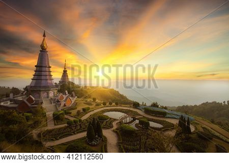 Landscape Of Two Pagoda At The Inthanon Mountain At Sunset, Chiang Mai, Thailand.inthanon Mountain I
