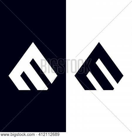 Initial Letter E Or M Logo Template With Geometric Diamond Arrow Head Illustration In Flat Design Mo