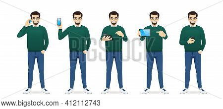 Handsome Business In Casual Outfit With Gadjets Phone And Tablet Set Isolated Vector Illustration
