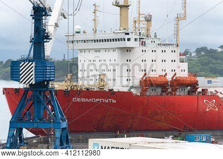 Russian Cargo Container Ship Nuclear-powered Icebreaker Sevmorput Corporation Fsue Atomflot Or Rosat
