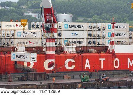 Crane Unloaded Container Cargo Ship Sevmorput Rosatomflot - Russian Nuclear-powered Icebreaker Light