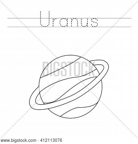 Tracing Letters With Uranus. Writing Practice For Kids.