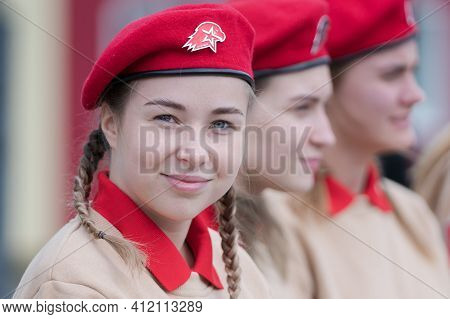 Cadets In Uniform Of All-russia Young Army National Military Patriotic Social Movement Association D