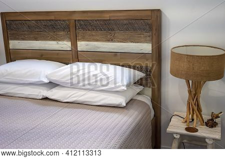 Bedroom Suite With Side Table And Lamp, Rustic Timber Look