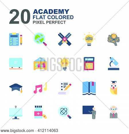 Icon Set Of Academy. Flat Color Icons Vector. Contains Such Of Geography, Hat Graduation, Music, Exa