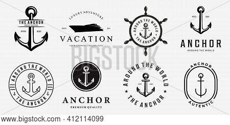 Set Bundle Of Anchor Ship Yacht Luxury Badge Vector Logo, Illustration Vintage Design Of Water Trans